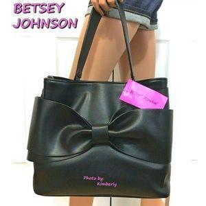 Betsey Johnson Black Bow Satchel Bag NWT